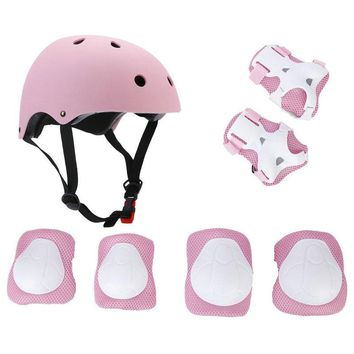 LANOVA 7pcs/Set Protective Gear Set Kids Knee Pads Elbow Pads Wrist Protector Protection helmet for Scooter Cycling Roller Skate