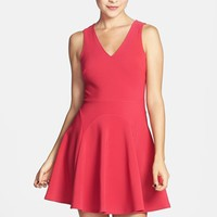 Lush V-Neck Skater Dress (Juniors) (Online Only)