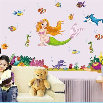 movie mermaid deep sealifes fish wall stickers for kids room decor x013. diy home decals animals cartoon mural art posters 5.0