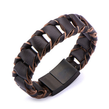 Espresso - Dark brown leather folded link style braided men's bracelet with stainless steel clasp