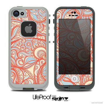 The Coral Abstract Pattern V34 Skin for the iPhone 4 or 5 LifeProof Case