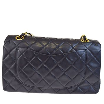 Auth CHANEL CC Matelasse Double Flap Quilted Chain Shoulder Bag Leather 624V2189