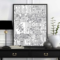 """BLACK AND WHITE SYMBOLISM"" Original Abstract Drawing/Painting"