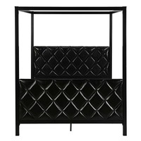 Queen size Metal Canopy Bed Frame with Black Faux Leather Headboard and Footboard