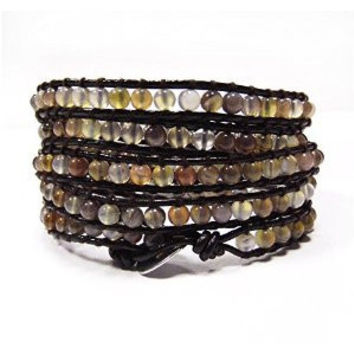 Brown Leather and Botswana Agate Chan Luu Style Wrap Bracelet
