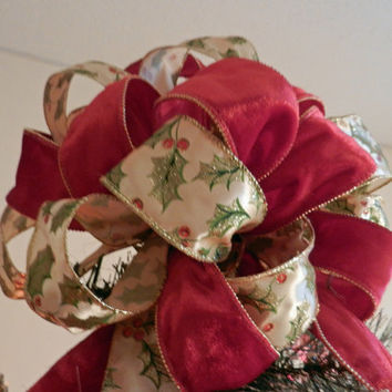 Large Soft red velvet Ribbon and off white with Holly leaves and berries Ribbon Christmas Tree Topper Bow