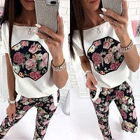 Casual Floral Women Clothing Set Summer Short Sleeve Clothes T-shirt Pants Two-piece Suit Pajamas Set