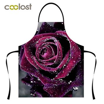 Flower Rose Ladies Aprons Cook Uniform Galaxy Pattern Restaurant Accessories Chef Uniform Canvas Party BBQ Sushi Kitchen Clothes