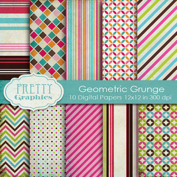 DIGITAL PAPERS - Geometric Grunge - Commercial Use- Instant Downloads - 12x12 JPG Files - Scrapbook Papers - High Quality 300 dpi