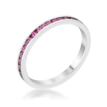 Teresa Garnet Silver Eternity Stackable Ring | 1ct | Cubic Zirconia | Stainless Steel