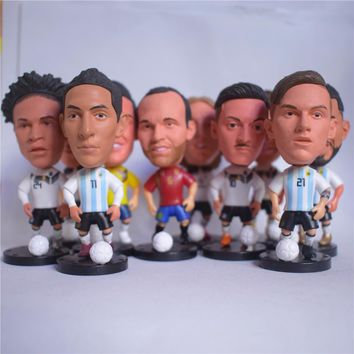 Soccerwe Movable Star Doll Collections Gift for 2018 Soccer Cup Messi Dybala Kroos Griezmann Pogba Kun Neymar Collections