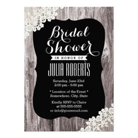 Rustic Driftwood Laced Bridal Shower Invitations