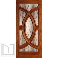Solid Mahogany Single Door with Circle Decorative Glass Style
