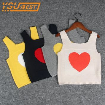 Love Condole Belt Vest Baby Boys Girls Sweater Love Knitting Vest 1-5yrs Children Clothes Casual Kids Boys Knitting Vest Coat