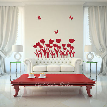 Rose Wall Decal Sticker - Butterfly Field Red Roses Elegant, Stunning, Romantic, Flowers, Artist, Statement, Blooms, Florist, Arrangement