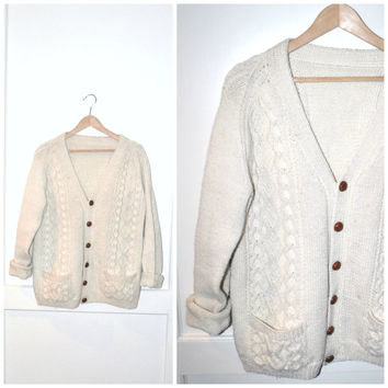 oatmeal FISHERMAN sweater vintage 70s button down CREAM wool slouchy unisex GRUNGE cardigan os