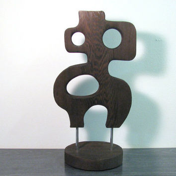 Abstract Mid Century Modern Atomic Burnt Wood Art Sculpture -- Cecil By SuZanna Anna