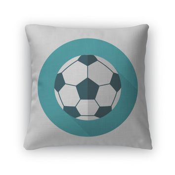 Throw Pillow, Soccer Flat Icon With Long Shadoweps10