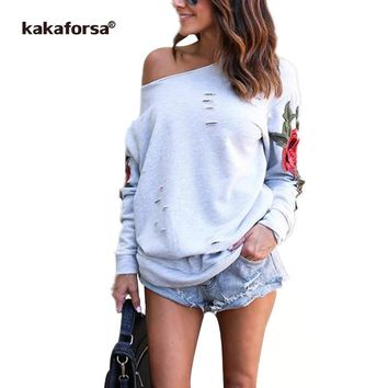 Kakaforsa Women Rose Print Tshirt Casual Long Sleeve Holes Tops Fashion Autumn Loose Graphic Tees Sexy One Shoulder T Shirt