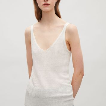 Knitted sheer vest top - Ivory - Tops - COS US