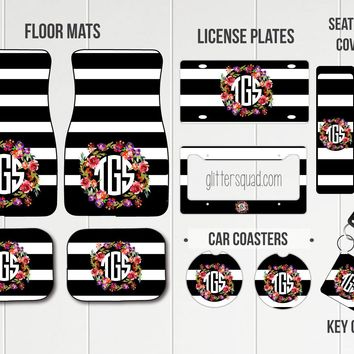 Black & White Stripes with Floral Wreath Car Mat /Plate & Frame / Seat belt cover / Key Chain / Car Coaster / Car Accessory Gift  Set