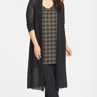 Plus Size Women's Eileen Fisher Wool Mesh Long Cardigan,