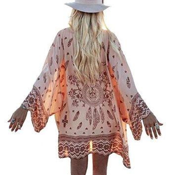 Chiffon Cardigan, Flower Print Open Front Shawl Kimono Coat Jackets Cover up