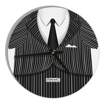 "Pinstripe Gangster Jacket Printed Costume 8"" Round Wall Clock  All Over Print"