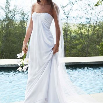 Sheath Gown with Beaded Sweetheart Neckline - David's Bridal