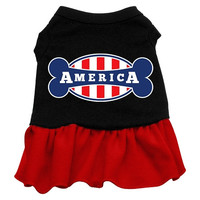 Bonely in America Screen Print Dress Black with Red for Dogs