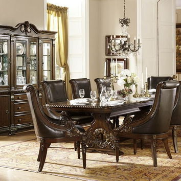 Home Elegance 2168-108 7 pc orleans collection dark cherry finish wood double pedestal dining table set with wreath accented ornate carvings
