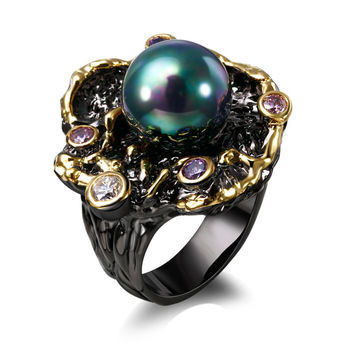 2016 new Elegant Jewelery New ly Ring with Pearl Multi color Black jewelry Unique Design Anniversary Gift Ring