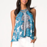 bebe Womens Print Flounce Top Grand Bazaar 1