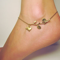 Little bird on a branch adjustable anklet