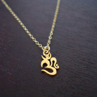 Gold Om Necklace - Dainty Gold Vermeil Om Necklace - Om Jewelry, Yoga Jewelry, Buddhist Jewelry, Womens Jewelry