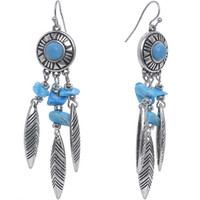 Antiqued Silver Tone Turquoise Faux Stone Dreamcatcher Dangle Earrings | Body Candy Body Jewelry