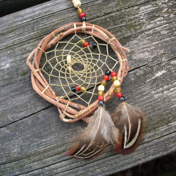 Dreamcatcher,daydreamcatcher to hang on car rearview mirror in red and gold and black