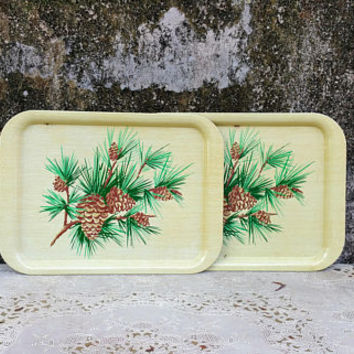 Vintage Metal Pine Cone TV Lap Trays Christmas Decor Cabin Decor