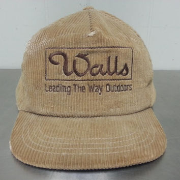 Vintage  80's Walls Leading The Way Outdoors Light Brown Corduroy Snapback Dad Hat Made In USA
