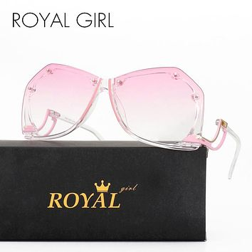 ROYAL GIRL Rimless Sunglasses Women Retro Square Oversized Summer Ombre Sun Glasses ss166