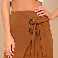 J.O.A. Modern Masterpiece Light Brown Wrap Mini Skirt
