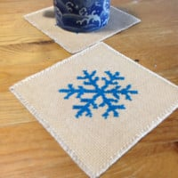 Set of 2 Fabric drink coaster Cross stitch coasters Snow flake coaster Completed cross stitch Dyed by real tea