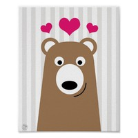 Cute bear hearts illustration poster