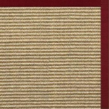 Spice Sisal Rug with Cardinal Red Cotton Border
