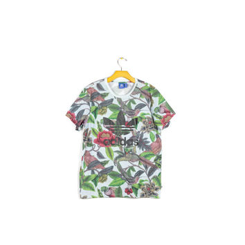 ADIDAS tropical florera tee / allover pattern shirt / trefoil logo / birds flowers paradise / hawaiian print / hip hop / mens small