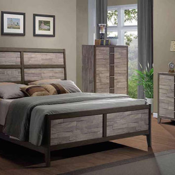 Henderson Chiseled Wood King Bedroom Set