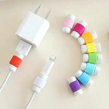 10PCS USB Cable Protector Colorful Cover Case For Apple Iphone 4 4S 5 5S 5C 6 Plus 6S SE Charger Data Cable Earphone Accessories