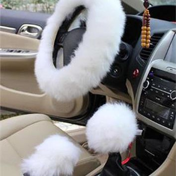 1 Set White Color Wool Super Soft Steering Wheel Cover Protector Comfortable   F