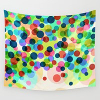 Happy Rainbow Confetti Wall Tapestry by Miss L In Art