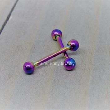"Titanium nipple piercing jewelry 14g 9/16"" rainbow anodized purple nipple barbells"